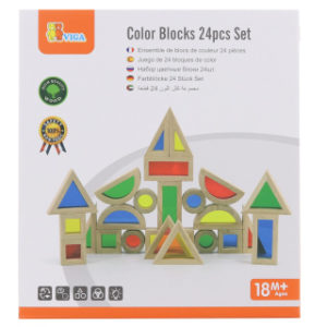 Dřevěné barevné kostky 24 ks