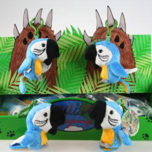 Plyš Papoušek modrý klíčenka 24/bal
