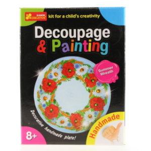 Dekupáž a malování - talířek - věnec