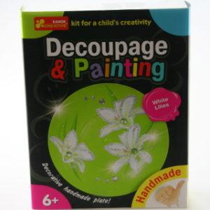 Dekupáž a malování - talířek - bílé lilie