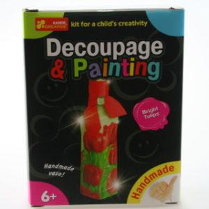 Dekupáž a malování - váza - tulipány