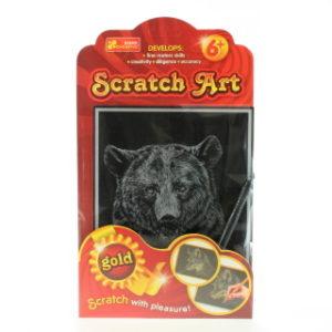 Vyškrabovací obrázek zlatý - medvěd