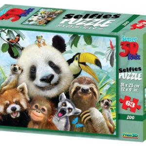 3D Puzzle Zoo selfie 63 dílků
