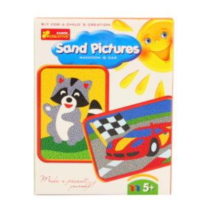 Obrázek z písku - mýval a auto