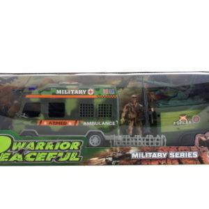 Vojenské auto s vojáky sada