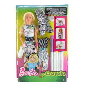 Barbie D.I.Y Crayola vybarvování šatů běloška FPH90