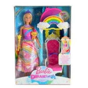 Barbie Princezna s duhovou houpačkou FJD06