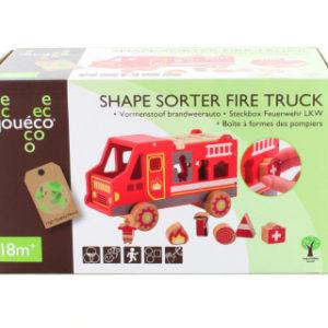 Dřevěná vkládačka hasičské auto